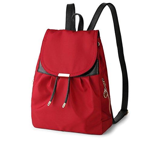 HQYSS Borse donna Donne in nylon leggero Collegio Vento casuale zaino borsa solido di colore regolabile impermeabile grande capacità Bookbags Tote Bag , black red