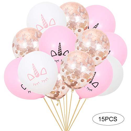 Xiton 15pcs / Set del Unicornio cumpleaños hincha Decoraciones del Partido Incluye 10pcs el Unicornio Impresiones monocromas y 5pcs de Oro Rosa Confeti