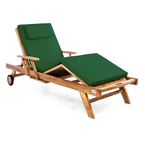 Divero Sonnenliege Holzliege Gartenliege Teak-Holz behandelt mehrfach verstellbar inkl. Räder Tablett + Liegen-Auflage 4-teilig wasserabweisend dunkelgrün -