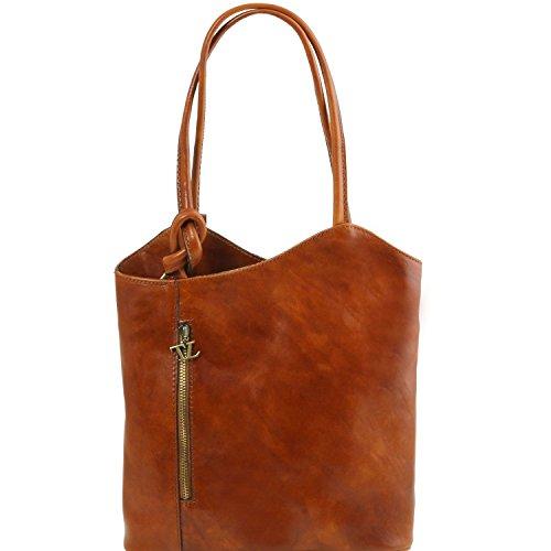 Tuscany Leather Patty - Schultertasche aus Kalbsleder - TL141497 (Dunkelbraun) Honig