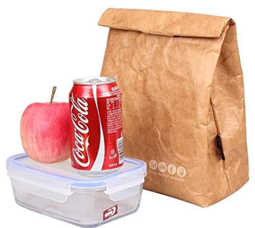 Lunch-Taschen Kühltasche Isolierte Retro Style Set Für Mädchen Kinder Frauen Erwachsene Jungen Muttermilch Reusble Papier Dicht Umwelt Tyvek Griff Tasche Gehen Arbeit Picknick Shool(Brown-D) - Tyvek-shirts