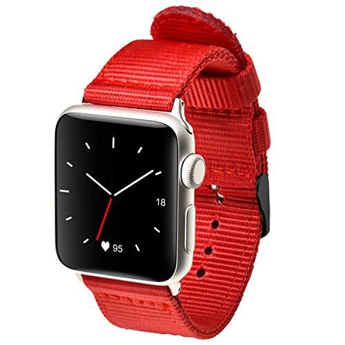 autulet für Band Apfel Uhrenarmbänder 42mm für roten Apfel Uhrenarmband für Apfel Uhr NATO Band für Apfel Uhrband Leinwand Mens für Apfel Uhr - Leinwand Gurtband