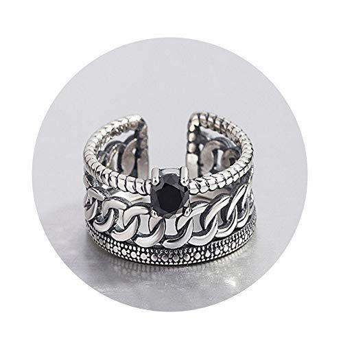 SHATANQ S925 Sterling Silber Ring Weiblichen Retro Alten Thai Silber Twist Breitgesichtigen Black Diamond Kette Geschnitzte ÖFfnung,Schwarz,4.3G -