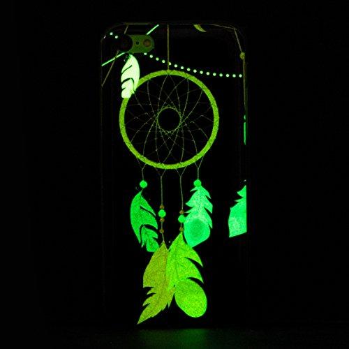 iPhone 5C Handyhülle,iPhone 5C Hülle,JAWSEU Ultradünne Weiche Flexible Night Luminous Kirschblume Baum Muster Blau Weiß Rückseite Schutzhülle Tasche Leuchtende Nacht-Abdeckung TPU Silikon Bumper Etui  Traumfänger,Schwarz