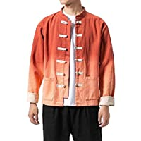 SOWTKSL Mens Chinese Style Frog-Button Washed Ombre Cotton Blend College Jackets Og US M=China L