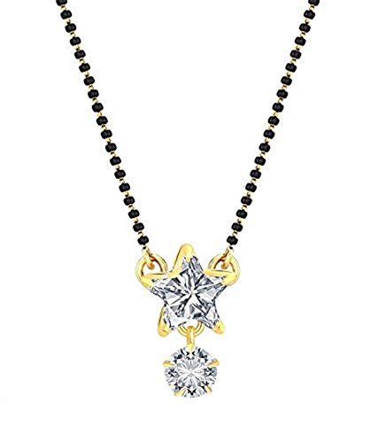 Archi Collection Star American Diamond Mangalsutra Pendant with Chain for Women