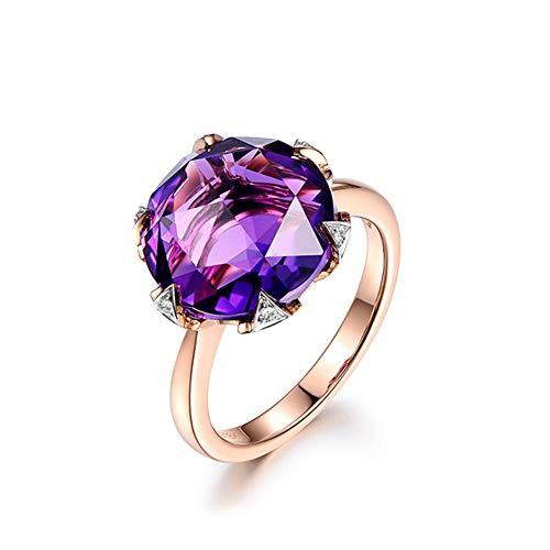 Schmuck Geschenk für Frauen Lila Amethyst Diamant Ring Versprechen Engagement Hochzeit Ringe,J1/2 (Lila Diamant Versprechen Ring)