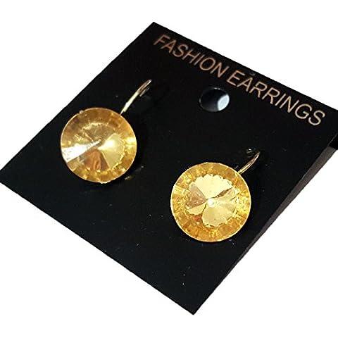 Pendientes clásicos de botón / Aleación del oro / brillantes / cristal oval de DesiDo®