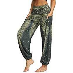 Nuofengkudu Mujer Hippies Pantalones Harem Tailandeses Boho Estampados Bolsillos Cintura Alta Baggy Yoga Pants Verano Playa Fiesta (Verde C,Talla única)