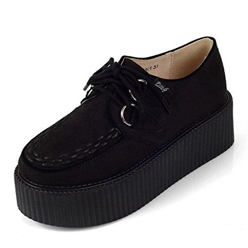RoseG Damen Schnürschuhe Flache Plateauschuhe Gote Punk Creepers Schuhe Schwarz Size38
