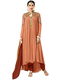 Shoppingover Embroidered Anarkli Suit in Peach & Brown Color with lace