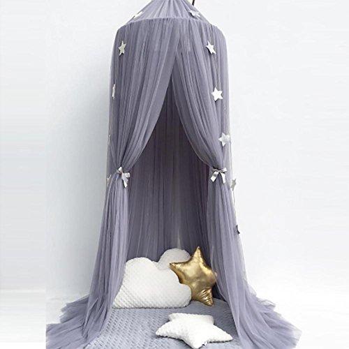 Bett Vorhänge Kinderzimmer Dekoration Mädchen Prinzessin Bett Baldachin Zelt Baby Krippen Volant Runden Moskitonetz 1 Stück , gray