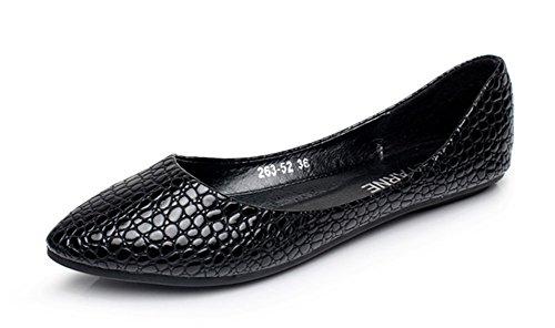 Aisun Femme Unique Imprimé Crocodile Bout Pointu Ballerines Noir