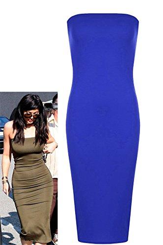 Fast Fashion Frauen Kleid Prominenten Inspiriert Plain Boobtube Bodycon Midi Royal Blau