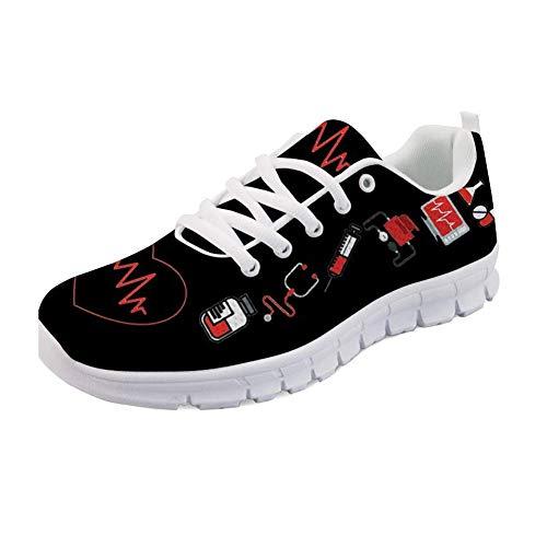 Nopersonality Laufschuhe Turnschuhe Nurse Pattern Tennis Sports Running Shoes Ladies Girls Outdoor Walking Flats Lace Up Senakers Sportschuhe Krankenschwester Damen Herren Schwarz EU 39, Black (Für Frauen Krankenschwester-tennis-schuhe)