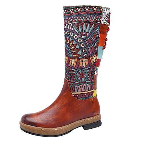 Kostüm City Twin - Sanahy High Boots Winter Leder Damen Schuhe City Winter High Heels Bequeme Stiefeletten Böhmisches Fell Oberschenkel Stiefel