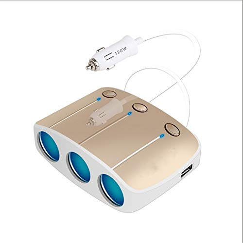 BUHWQ Auto LadegeräT USB AutoladegeräT, EIN Bis DREI Metallauto-LadegeräT Dual Sub Car ZigarettenanzüNder Intelligente Elektronische Auto-Ladung