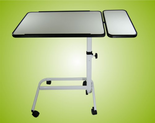 Hochwertiger, robuster, Profi Beistelltisch Beistellwagen Krankentisch 2-geteilt, Bett-Tisch Farbe:Weiß Top-Qualität