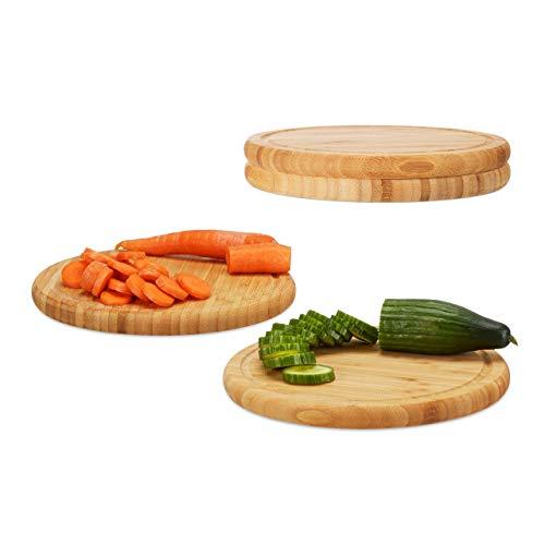 Relaxdays Frühstücksbrettchen rund 4er Set, Bambus, 30 cm, Küchenbrett, pflegeleicht, natürlich, messerschonend, Natur - Holz-frühstücks-set