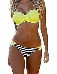 ASSKDAN Femme Sexy Bikini Push-up à Bretelle à Rayure à Pois maillot de bain Triangle