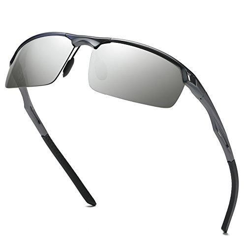 DUCO Herren Sport Stil Polarisierte Sonnenbrille Metallrahmen Brille 8550 (Gunmetal/Silber Verspiegelt)