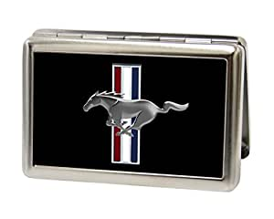Automotive-Ford Mustang Logo avec barres en métal noir portefeuille Multi-usages pour carte de visite Support