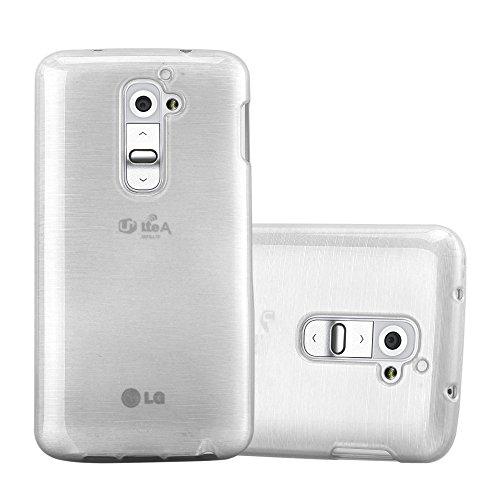 Cadorabo Hülle für LG G2 - Hülle in Silber – Handyhülle aus TPU Silikon in gebürsteter Edelstahloptik (Brushed) Silikonhülle Schutzhülle Soft Back Cover Case Bumper