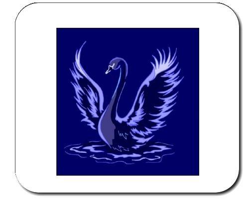 Mauspad mit der Grafik: Zeichnung, Schwan, Nacht, Teich, Vogel (Vögel Zeichnung)