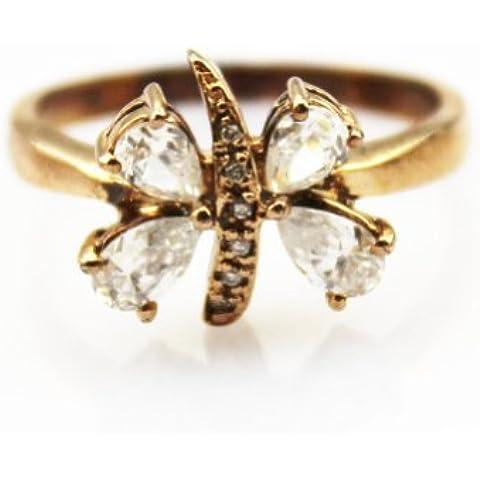 Anello da donna in argento 925, placcato in oro rosa, con zirconia cubica trasparente, con farfalla - Rosa Ha Placcato Argento