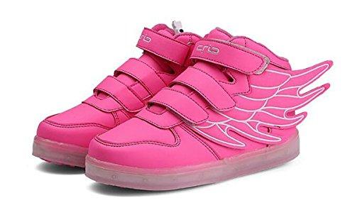 Firstmall-LED Chaussures High Top 7 Couleur Unisexe garçons et filles enfants USB Charge LED Ailes légères Chaussures de Sports Baskets Rose