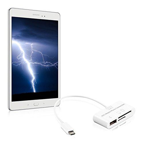 kwmobile 3in1 Micro USB OTG Kabel Adapter für Samsung Galaxy Tab S2 9.7 T810N/T813N/T815N/T819N - Card Reader Tablet Kartenleser Anschluss für USB 2.0 / SD Karte / Micro SD Karte in Weiß (Sd-card Reader Für Galaxy Tablet)