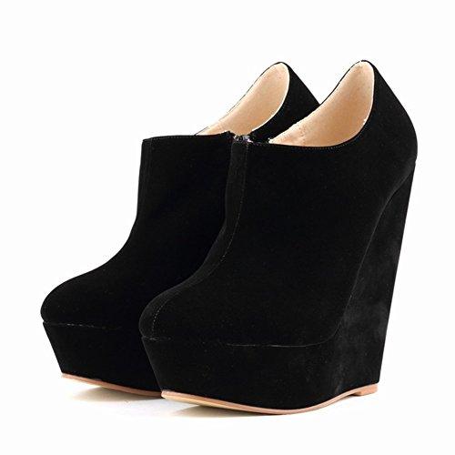 HooH Femmes Sexy Fanelle Wedge Escarpins Roma Boots Noir