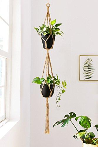 lulalula 2Etagen Kleiderbügel, Indoor Outdoor Aufhängen Pflanzgefäß Blumenkorb Topflappen Baumwolle Seil–4Beine 170,2cm (Pot nicht im Lieferumfang enthalten), Jute, gelb, 67''''