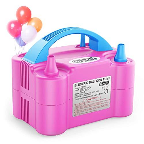 Dr.meter Luftballonpumpe, Elektrische Ballon-Luftpumpe mit Doppeldüse Inflatorgebläse Tragbare Pumpe für Party, Hochzeit, Geburtstag, Werbemaßnahmen und Festivaldekoration