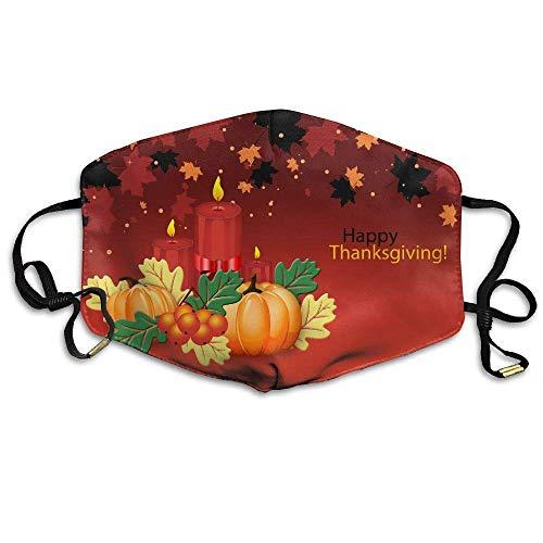Daawqee Staubschutzmasken, Thanksgiving Pumpkin Candle Maple Leaf Printed Mask Neutral Mask Men Women Polyester Dust-Proof Breathable Mask