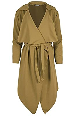 Women Ladies Cape Cardigan Waterfall Itanlian Blazer 3/4 Sleeves Tie Knot Belted Oversized Celeb Celebrity Coat Plus Sizes from BE JEALOUS
