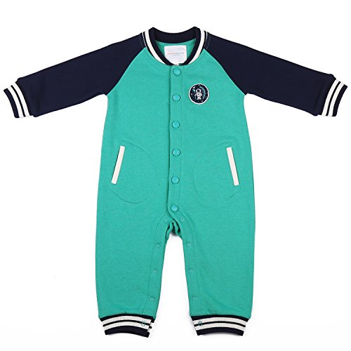 oceankids-tuta-a-coste-stile-casacca-pagliaccetti-verde-da-bambino-e-bambina-misura-9-12-mesi