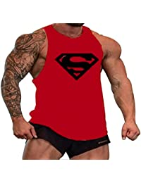 A. M. Sport Tank Top Hombre de Tirantes Camiseta Deportiva. Camisas Fitness sin Mangas. (Logo Superman roja/Negro)