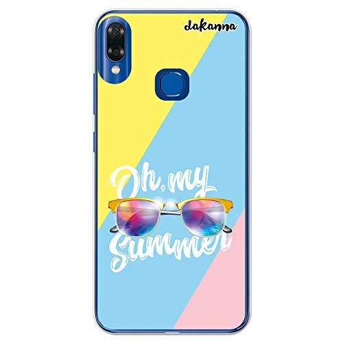 dakanna Kompatibel mit [Bq Vsmart Joy 1 Plus] Flexible Silikon-Handy-Hülle [Transparent] Sommer Sonnenbrillen Design, TPU Case Cover Schutzhülle für Dein Smartphone