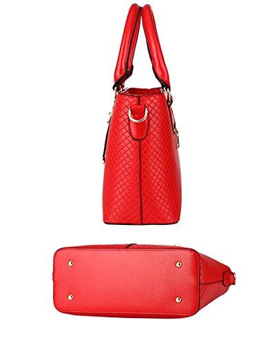 Menschwear Leather Tote Bag lucida PU nuove signore borsa a tracolla Rame Rosso