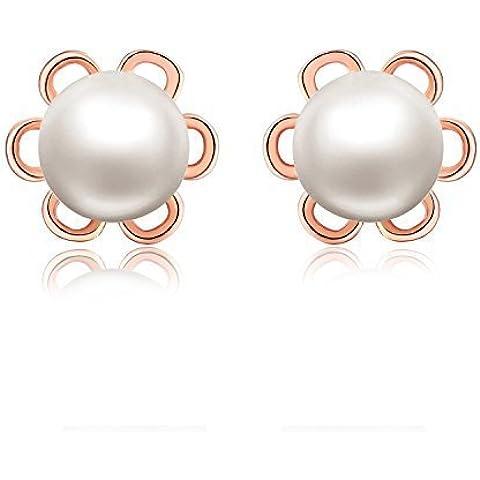 925 plata esterlina de 8-millimeter 9 Natural de la perla de agua dulce de flores pendientes del perno prisionero para las mujeres chapado en oro rosa