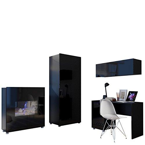 Mirjan24 Jugendzimmer Set Calabrini XIV, inkl. Kleiderschrank, Schreibtisch, Kommode, Wandregal, Komplett, Kinderzimmer Set (Schwarz/Schwarz Hochglanz, ohne Beleuchtung)