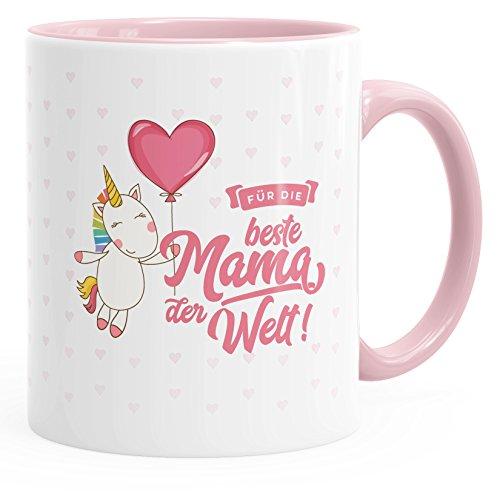 MoonWorks Einhorn Geschenk-Tasse Zum Muttertag Beste Mama der Welt Unicorn Mother`s Day Kaffee-Tasse mit Innenfarbe Rosa Unisize (Becher Kaffee Day Mothers)