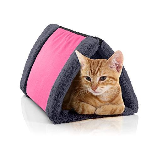 BedDog Katzentunnel 3in1 Luna, Katzenhöhle, Katzenmatte aus Cordura und Microfaser-Velours, waschbare Katzendecke zweiseitig, Unterlage für Haustiere, Farbe PINK-Rock (pink/grau) -