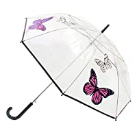 Womens/Ladies Transparent Automatic Open Walking Umbrella With Butterfly Design