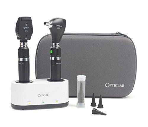 opticlar 100.025.011h S1Praxis LED-Diagnose-Set-2x E Composite wiederaufladbar Griffe, Twin Port Ladegerät, Heine spitze kompatibel -