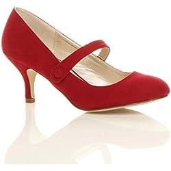 Damen Hoher Absatz Mary Jane Formal Abend Party Ball Pumps Schuhe Größe 6 39
