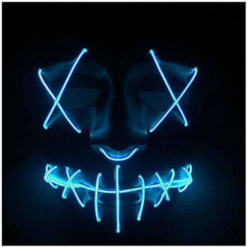 SPFAZJ Halloween heißen Glow Maske EL kaltes Licht Led Dekoration Terror Gabel Auge glühen Mundmaske Schlitz