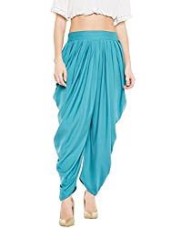 BITTERLIME Womens Crepe Solid Pleated Dhoti Pant (BLMG12788M, Sea Green, Medium)