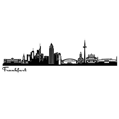 Wandkings Skyline - Deine Stadt wählbar - Frankfurt - 125 x 28 cm - Wandaufkleber Wandsticker Wandtattoo